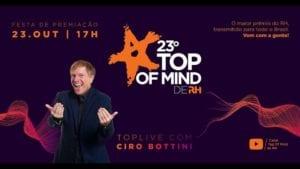 Pela primeira vez, festa Top of Mind de RH acontece online e ao vivo